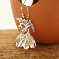 Clear Quartz Tear Drops Earrings Cluster Earrings Quartz Dangle Earrings,Birds