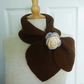 Knit Women Bow Tie Scarf, Ascot Keyhole Scarf, Women Scarf, Bow Tie Scarf, Brown