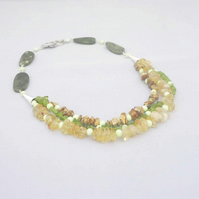 Jade, Jasper, Peridot, Citrine,Crysoprase Necklace, Multi Strand Necklace