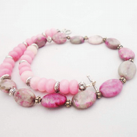 Agate and Jade Necklace, Lace Agate and Pink Jade Necklace, Simple Necklace