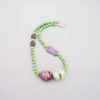 Turquoise Statement Necklace, Apple Green and Purple Turquoise Necklace, Chunky