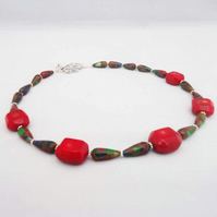 Red Bamboo Coral and Multicolour Gemstone Necklace, Red Gemstone Necklace