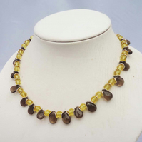Smoky Quartz Necklace, Quartz Necklace, Brown and Yellow Necklace, Gemstone