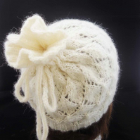 Drawstring Hat, Handknitted White Hat,Convertible Cowl, Convertible Snood