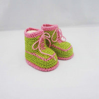 Baby Booties, Knit Trainers for Baby, Green and Pink Booties