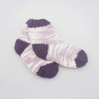 Handknitted Baby Socks, Socks for Baby, Purple and Lavender  Baby Socks