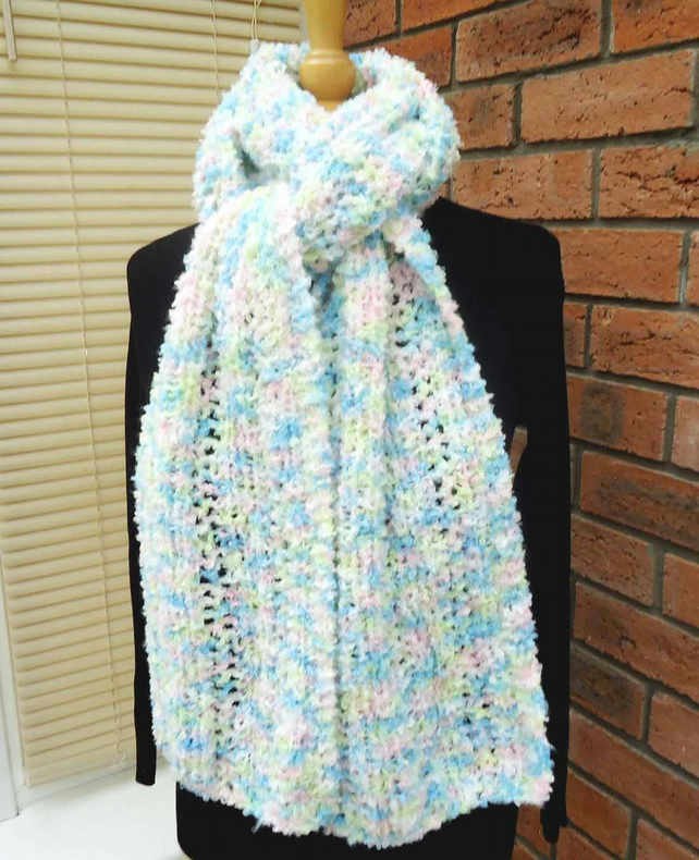 Multicolour Long Scarf, Fluffy Scarf, Handknitted Lace Scarf