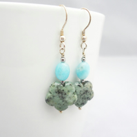 Turquoise and Larimar Earrings, Flower Earrings, Blue Earrings,African Turquoise