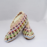 Knitted Socks,Slippers in Beige and Brown, Hand Knitted Women Winter Home Socks