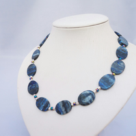 Lapis Lazuli Necklace, Necklace in Blue, Blue Gemstone Necklace