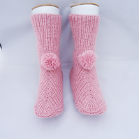 Knit Slippers, Home Socks,Slippers, Pink Slippers with Pom Pom, Indoor Socks