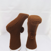 Knit Slippers, Home Socks,Slippers, Brown Slippers with Pom Pom, Indoor Socks