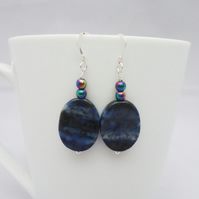 Lapis Lazuli and Rainbow Hematite Earrings, Blue Earrings, Gemstone Earrings