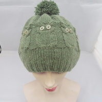 Women Owl Hat,Cable Benie Hat,Women Hat in Green,Owl hat in Green,Handmade Hat