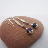 Lapis Lazuli Earrings, Wire Wrapped Lapis Lazuli Earrings, Blue Gemstone Earring