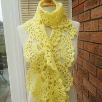 Crochet Lace Women Scarf, Crochet Neckwarmer, Lace Scarf, Women Yellow Scarf