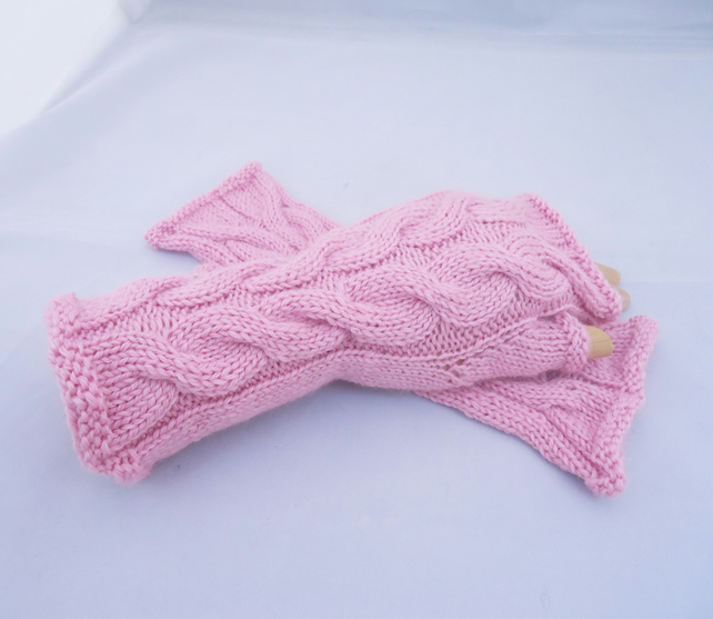 Wool Fingerless Mittens, Handknit Cabled Gloves, Pink Wool Fingerless Mittens