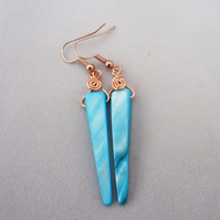 Blue Mother Of Pearls Earrings,Mother of Pearls and Copper Earrings,Wire Wrapped