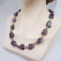 Amethyst Nuggets Necklace, Amethyst and Fluorite Necklace, Amethyst Statement