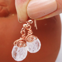 Clear Quartz and Copper Wire Earrings, Tear Drop Quartz Earrings, Wire Wrapped