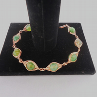 Wire Wrapped Agate Bracelet, Herringbone Wirework Bracelet, Green Agate