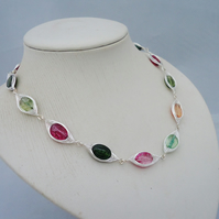 Multicolour Gemstone Necklace, Multticolour Quartz Herringbone Necklace