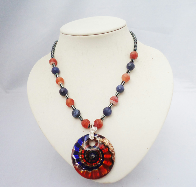 Sodalite, Agate and Hematite Necklace, Necklace with Glass Pendant, Necklace