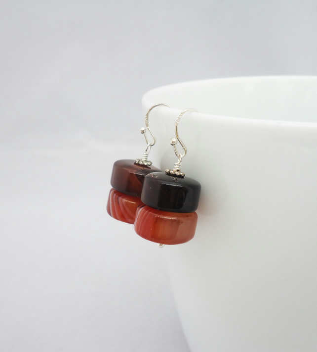 Agate Earrings, Chunky Agate Earrings, Brown Agate Earrings, Brown Stone Earring