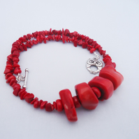 Red Coral Necklace, Coral Necklace, Chunky Coral Necklace, Necklace in Red