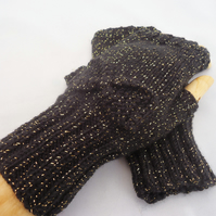 Handknit Fingerless Mittens, Black and Gold Mittens with Bow, Stylish Women Mitt