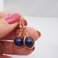 Lapis Lazuli Earrings, Wire Wrapped Lapis Lazuli Earrings, Herringbone Earrings
