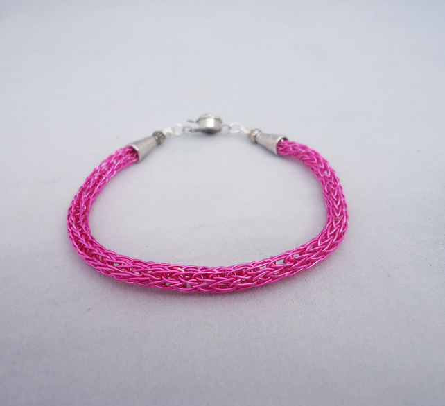 Viking Knit Bracelet, Viking Knit Bracelet in Hot Pink, Wire Wrapped Bracelet