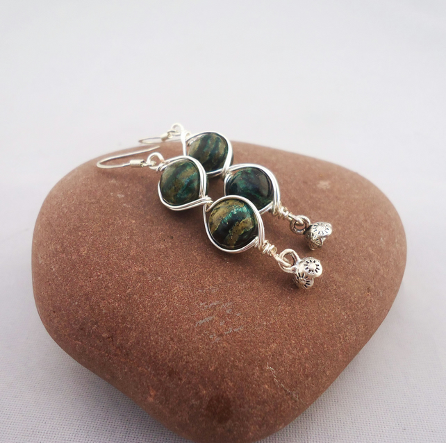 Green gemstone Earrings, Wire Wrapped Chlorite Earrings, Chlorite Earrings