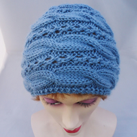 Women Cable Hat, Blue Women Hat, Cable Winter Beanie