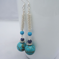 Turquoise and Jade Earrings, Wire Wrapped Turquoise Earrings, Long Earrings