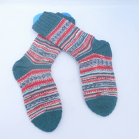 Hand Knitted Socks, Unisex Socks, Crazy Scrappy Socks