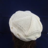 Cable Beret, Hand Knit Women Cable Hat, White Winter Hat