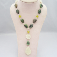 Jade and Onyx Necklace, Green Gemstone Necklace with Pendant