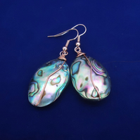 Paua Shell Earrings, Abalone Earrings, Copper Earrings