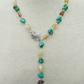 Turquoise and Yellow Opal Necklace, Turquoise and Opal Lariat
