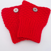 Hand Knit Boot Cuffs, Boot Toppers in Red, Boot Cuffs with Buttons