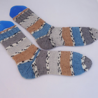 Stripe Wool Socks, Hand Knit Odd Socks, Unisex Socks, Winter Socks