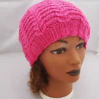Hand Knit Women's Hat, Women's Slouchy Hat, Cable Hat in Pink