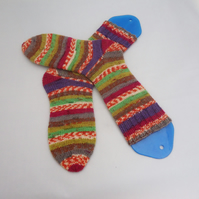 Hand Knit Women socks, Crazy Scrappy Socks, Multicolored Socks