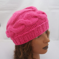 Hand Knit Cable Beret, Cable Hat, Women Hat in Pink