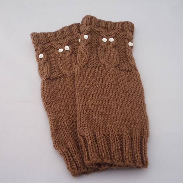 Hand Knit Leg Warmers, Leg Warmers with Owl, Women Leg Warmers