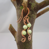 Jade and Copper Wire Wrapped Earrings, Pale Green Jade Earrings