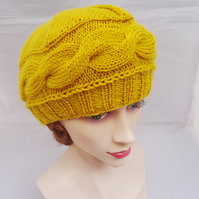 Hand Knit Women's Beret, Cable Women's Hat, Women's Hat in Yellow