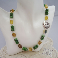 Yellow Opal and Green Jade Necklace, Yellow and Green Gemstones Necklace