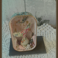 Mermaid theme mixed media recycled Tin Can Art